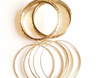 Going out of business Sale goldtone bangle lot of textured bracelets of 7