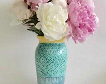 Handmade Tall Ceramic Yellow, Green, Blue Flower Vase