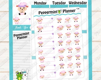 Sweet Little Sheep --- Planner Stickers --- 136