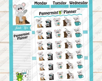 Cute little Mouse and Coffee --- Planner Stickers --- 265