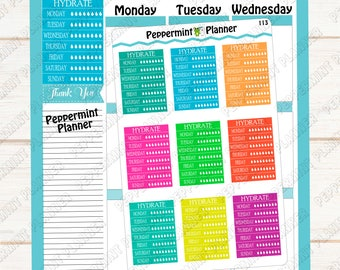 Hydrate Tracker Planner Stickers ---  Planner Stickers --- 113
