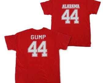 Forrest Gump T-shirt # 44 Alabama Jersey Shirt Worn In The Movie College Football Running Team Forest Bubba Tom Hanks Gift Costume Adult Red