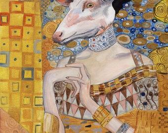 Gustav Klimt inspired Fine Art Print, Original Art, Deer Klimt, Unique Gift, One of a Kind, Fantasy, Surrealism, Painting, Gold, Stag, Deer
