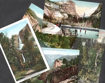 Vintage Yosemite Valley Postcards Yosemite Falls Mirror Lake Cathedral Spires Inspiration Point Unused Used Lot of 5