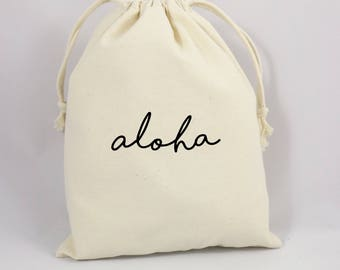 Aloha Welcome Bag, Welcome Party Bag, Canvas Party Bag, Thank You Party Favor Bag, Goodie Bag, Hawaii Party Favors