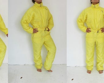 Ski Yellow One Piece Ski Suit Retro Yellow Snowsuit Hipster Snow Pants Outdoor Winter Wear Snow Jumpsuit Medium Large Made In Portugal