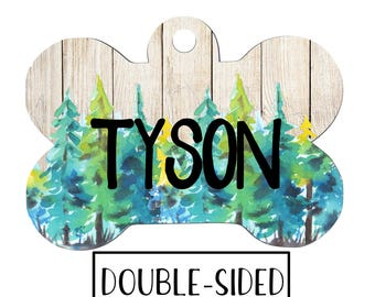 Rustic Tree Dog Tag, Personalized Dog Tag, Customized Dog Tag, Pet ID, Dog Name Tag, Dog Identification Tag, Pet Dog Tag, Tree Dog Tag