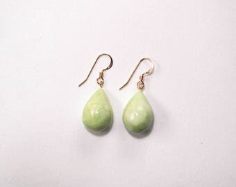 Gold Drop Earrings, Ceramic Teardrop Earrings, Mint Green Jewelry, Clay Earrings, Handmade Earrings, Unique Gift for Her, Clay Jewellery