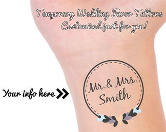 CUSTOM WEDDING Favor TATTOOS, Mr & Mrs Tattoo, Temporary Tattoo, Wedding Reception Favor, Wedding Tattoo, Custom Personalized Tattoo