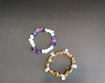 Amethyst and Amazonite Stretch Bracelet or Unakite and Clear Quartz Stretch Bracelet