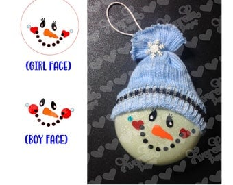 Snowman face SVG for 3 inch disc ornament