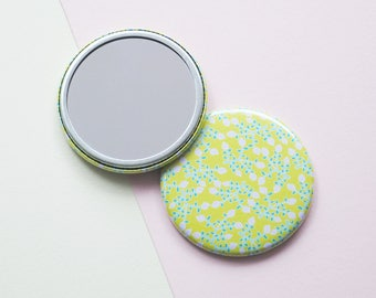 Yellow Floral Printed Pocket Beauty Mirror
