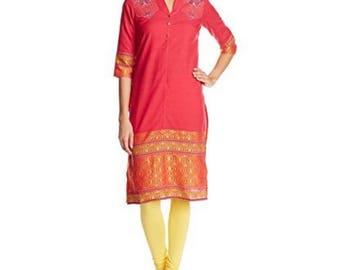 SALE-Indian Kurti Indian Tunic Cotton Top Ethnic Indian Red Cotton Kurti Women's Top Long Indian Kurti Tunic Top Kurta