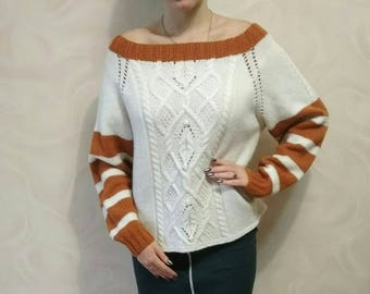 Women sweater, Loose knit sweater, Hand knitted, Wool pullover, Knit jumper,Knitted sweater,Warm winter sweater,Autumn sweater,White sweater