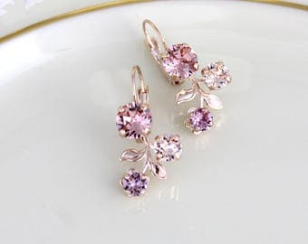 Rose gold earrings, Bridal earrings, Bridal jewelry, Blush crystal earrings, Flower earrings, Blush Wedding earrings, Swarovski earrings