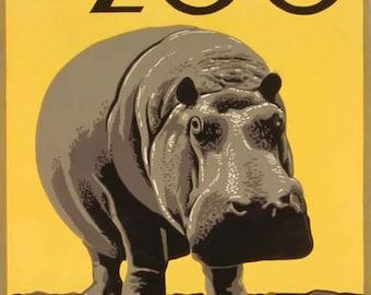 Philadelphia Zoo Travel Poster - Vintage Travel Print Art - Home Decor - Hippo Hippopotamus