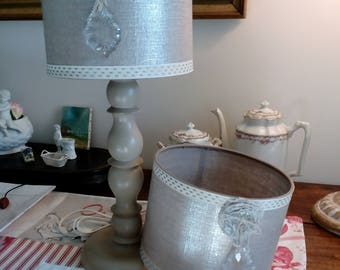 cylindrical Lampshade in linen with vintage glass pendant