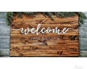 KANDJCREATES Welcome Wedding Sign || Rustic Welcome Sign || Bienvenido Sign