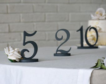 Rustic elegant weddign table numbers in Charcoal grey, Mint with silver glitter, Gold. Wood script numbers, decoration for tables.
