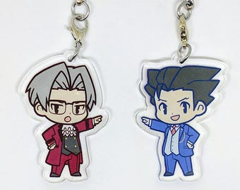 SALE! Phoenix Wright & Miles Edgeworth 2' Clear Acrylic Charms (Double-Sided)