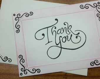 Hand Lettered Thank You card - Free Shipping