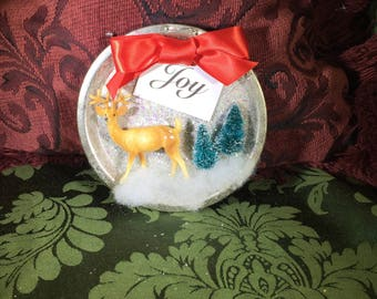 Vintage Tart Tin Ornament Filled with Tiny Bottle Brush Trees, Celluloid Deer, Glitter and JOY
