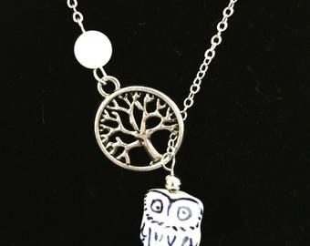 Tree of Life Midnight Owl Rose Quartz Pendant Necklace