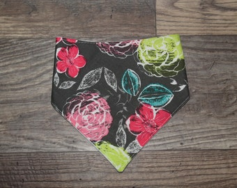 Girl Bandana Bib | Floral | Whimsical | Bibdana | Teething | Baby | Drool Bib | Perfect Gift | Handmade in Canada