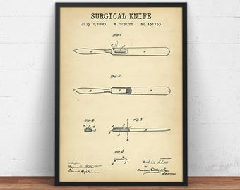 Surgical Knife Patent Print, Digital Download, Scalpel Design Diagram, Vintage Medical Hand Tool, Surgery Decor Lancet Poster, Surgeon Gifts