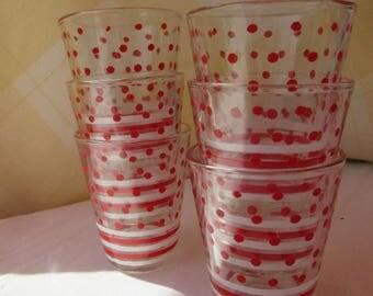 Retro Gift. Six Small/Shot Glasses. 1960 Polka Dots and Stripes.Retro Shot Glasses. 1960 Glasses. Red Glasses. French Retro.