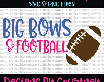 Big Bows and Football SVG and PNG File  Football Sister SVG   Fall Sports Cut Files   Silhouette and Cricut Designs