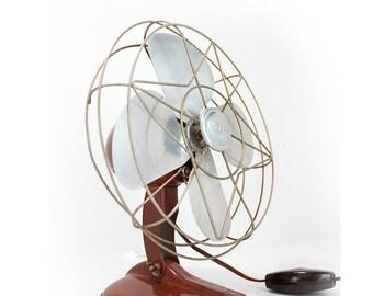 wizard vintage electric fan 1950s midcentury wizard deluxe oscillating fan small portable desk