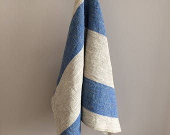 Extra Large Stripe Kitchen Towel, Linen towel, Housewarming Towel, Striped Linen Kitchen Towel, Blue Striped Tea Towel, Country Towel