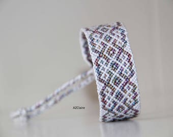 Multicolored metallic and white Friendship Bracelet