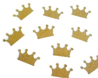 """Prince / Princess Crown Gold Glitter Confetti 1"""" (60 pieces) Die Cut - Prince First Birthday, Baby Shower Table Decorations, Tiara, Sweet 16"""