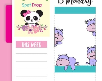 Hippo Emotions Peekaboo Planner Stickers, Hippo Planner Stickers (HP25)