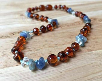 Boy's Amber Teething Necklace, amber necklace, baby teething necklace, real amber baby necklace, boy amber, kyanite necklace, baby boy gift