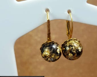 Orgonite ® Earrings, VITAWunder Bügelohhringe, Unique, (small) gold and silver