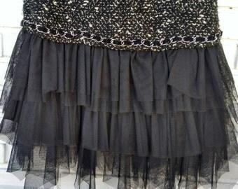 BLACK dress / / vintage dress / / tulle / / vintage clothing / / vintage clothing / / gift for woman