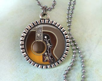 Gibson Acoustic Guitar Necklace, Musician Gift, Guitarist Birthday Gift, Guitar Player Gift, Music Lover Gift, Women's Gift, Men's Gift