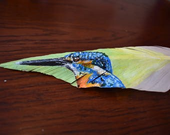 Kingfisher in acrylic on Goose Feather