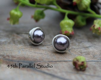 Sterling Silver Pearl Stud Earrings, Swarovski Earrings, Sterling Silver Earrings, Bridesmaid Gift, Pearl Earrings, Pearl Stud Earrings