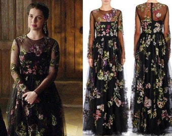 Custom Made Reign Mary Tudor Black Floral Flower Embroidered Lace and Cotton Elizabethan Gown