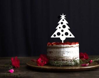 Christmas cake topper, holidays cake topper, Glitter Merry Christmas Tree Cake Topper, Christmas Party, Christmas Decor, Gold Christmas
