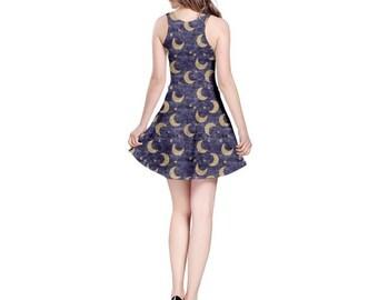 Blue Moon Dress - Skater Dress Lunar Dress Magical Dress Plus Size Dress Halloween Dress Lady Luna Dress Pagan Dress Wiccan Dress Goth Dress