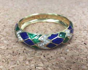 Vintage 18K Yellow Gold, Diamond and Enamel Bangle Bracelet - Python Snakeskin Pattern