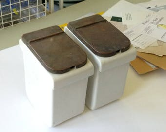 Porcelain Canisters with metal hinged lids (Pair)