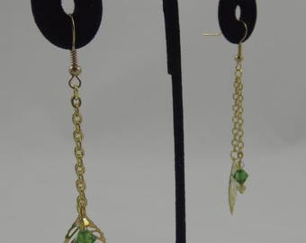 Gold Leaf Drop Earrings with Green and Yellow Accents