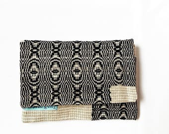 small bag folded and woven linen cotton, pouch folded in japanese style two interior pockets for smartphone camera A6-notebook cosmetics etc