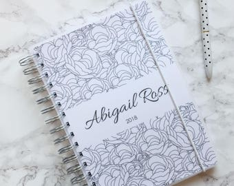 Personalised 2018 A5 Planner/Diary with or without tabbed dividers - Peonies